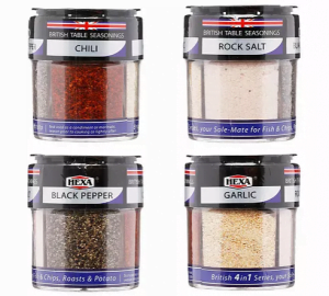 Hexa British 4 in 1 Table Seasonings
